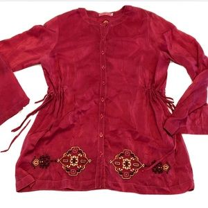 JOHNNY WAS Embroidered Button Peasant Blouse